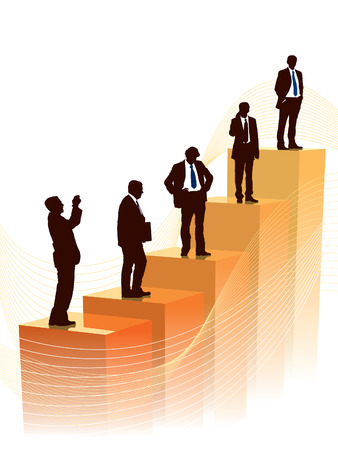 accomplish: Successful people are standing on a large graph, conceptual business illustration.