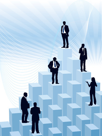 People are standing on a large graph, conceptual business illustration. Vector
