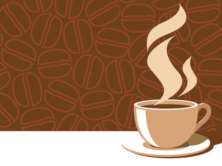 Coffee cup with aroma steam on a brown background with coffee beans. Stock Vector - 3912784
