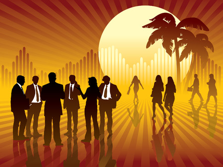 People are talking, sun and graph in the background, conceptual business illustration. Vector