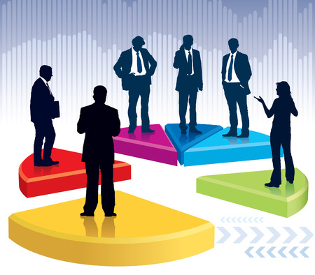 Businesspeople are standing on a large broken graph, conceptual business illustration.