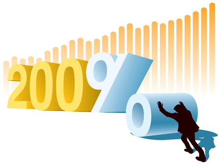 New Year or two hundred percent profit, conceptual business illustration. Vector