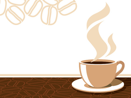 Coffee cup with aroma steam on a background with coffee beans.