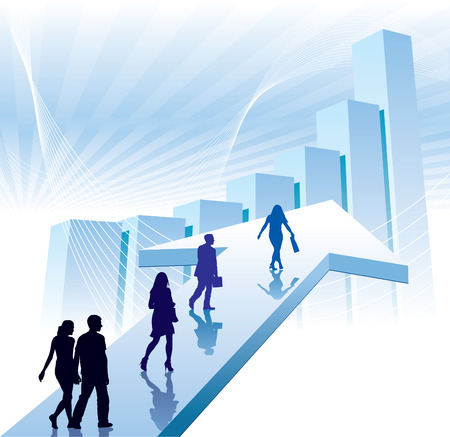 business people walking: People are walking on a direction sign, conceptual business illustration. Illustration