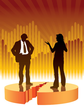 People are talking, graph in the background, conceptual business illustration. Vector