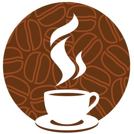 coffee beans: Taza de caf� con aroma de vapor sobre un fondo marr�n con granos de caf�.