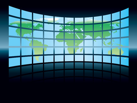 World map in a large display on a dark background, conceptual business illustration. The base map is from Central Intelligence Agency Web site. Stock Vector - 3973535
