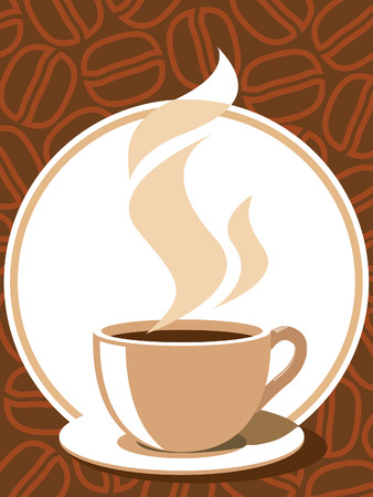 Coffee cup with aroma steam on a brown background with coffee beans. Illustration