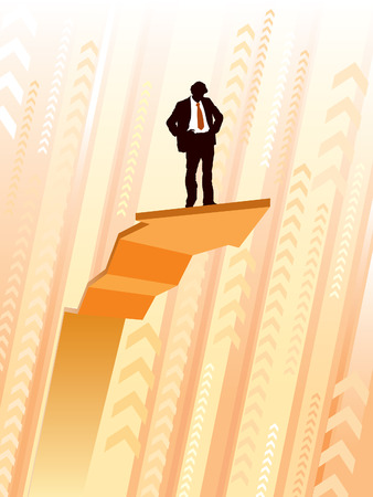 Businessman standing on a large climbing graph, conceptual business illustration. Vector