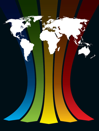 White world map on a rainbow background, conceptual business illustration. The base map is from Central Intelligence Agency Web site. Vector