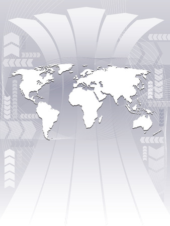 World map on an abstract background, conceptual business illustration. The base map is from Central Intelligence Agency Web site. Vector