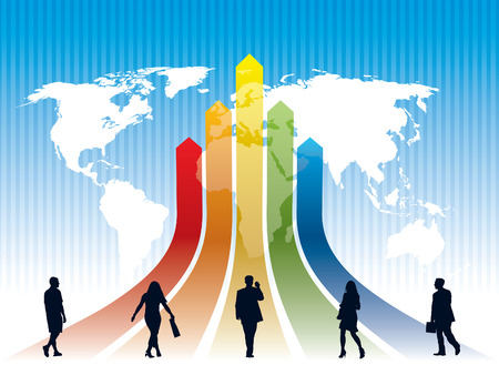 World rat race on a rainbow, a map in the background, conceptual business illustration. The base map is from Central Intelligence Agency Web site. Vector