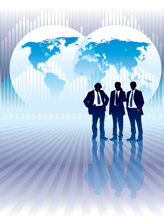 People are standing, world map and graph in the background, conceptual business illustration. The base map is from Central Intelligence Agency Web site. Vector
