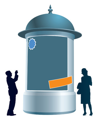 People are standing next to an advertising column, conceptual business illustration.