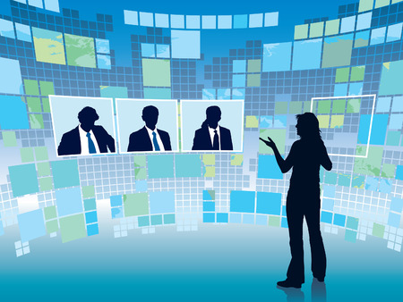 Business meeting in a virtual space, conceptual business illustration. Vector