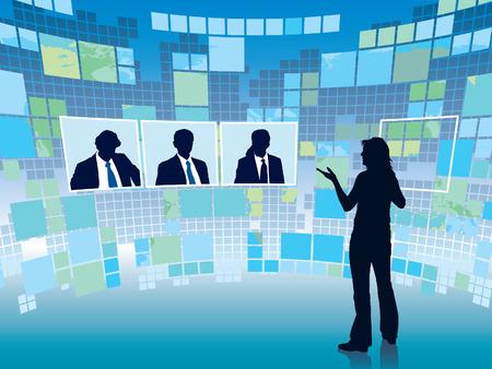 virtual space: Incontro di lavoro in uno spazio virtuale, business illustrazione concettuale. Vettoriali