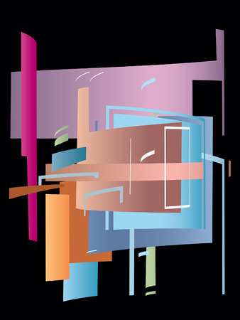 Modern abstract composition on a black background Vector