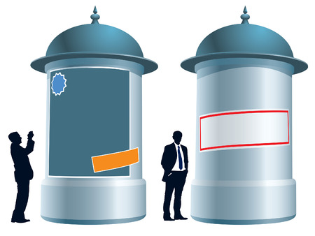 People are standing next to an advertising column, conceptual business illustration. Vector