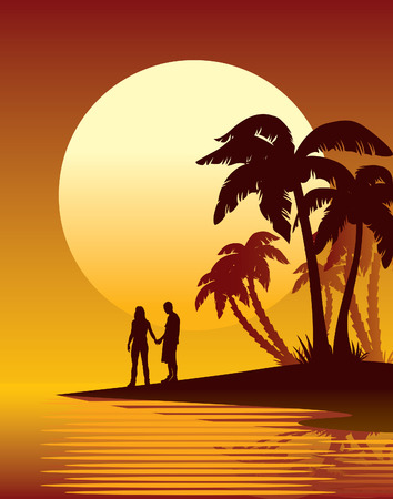 romantic getaway: Couple looking at the sunset, tropical island, palm trees on a beach. Illustration