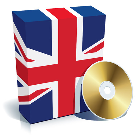 English software box with national flag colors and CD. Illustration
