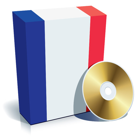 French software box with national flag colors and CD. Vector