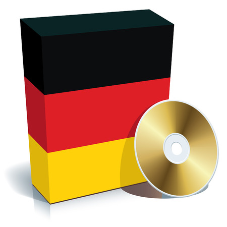 German software box with national flag colors and CD. Vector