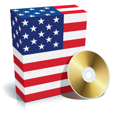 American software box with national flag colors and CD. Vector
