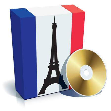idiomas: Franc�s de software caja con colores de bandera nacional y CD. Vectores