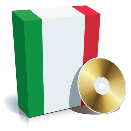 Italian software box with national flag colors and CD. Vector