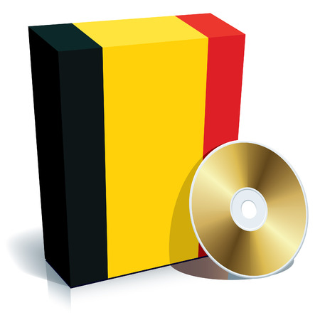 Belgian software box with national flag colors and CD. Vector