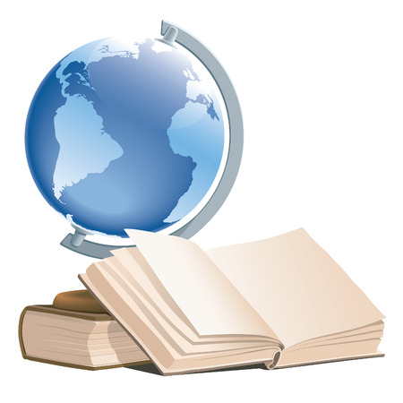 Illustration of books and a globe on a white background.