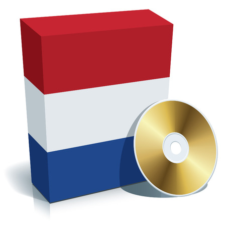 Dutch software box with national flag colors and CD. Vector