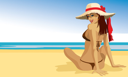 beach illustration: A beautiful girl sunbathing at the beach