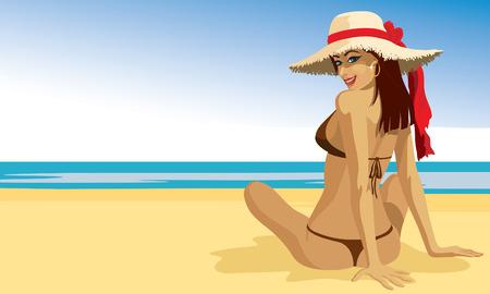 salud sexual: Una hermosa chica tomando el sol en la playa