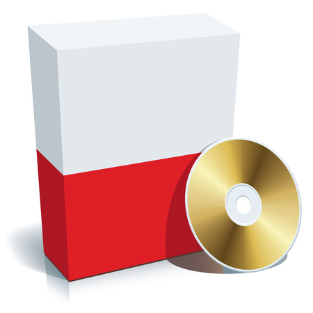Polish software box with national flag colors and CD. Stock Vector - 4214875