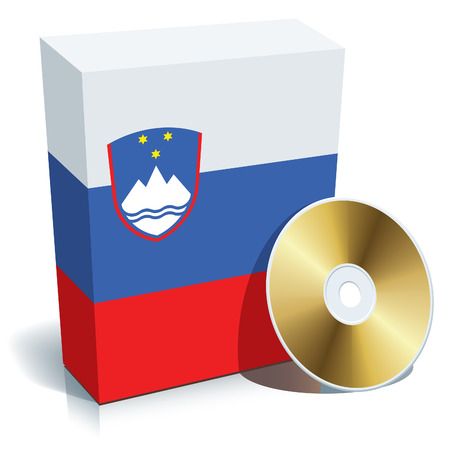 Slovenian software box with national flag colors and CD. Vector