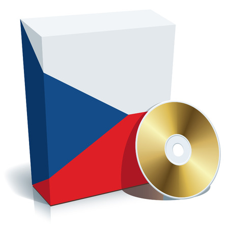 Czech software box with national flag colors and CD. Vector