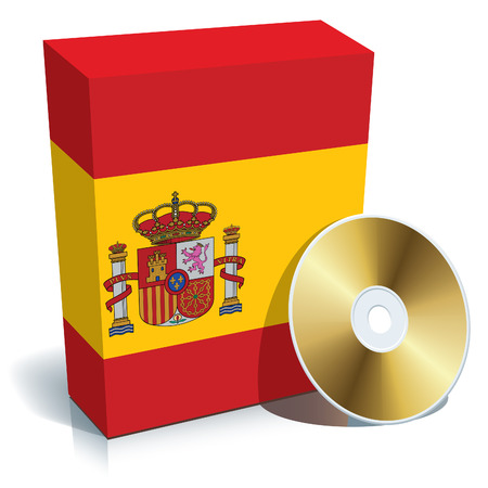 Spanish software box with national flag colors and CD. Vector