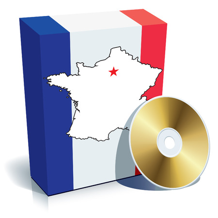 French software box with national colors, map and national border. Vector