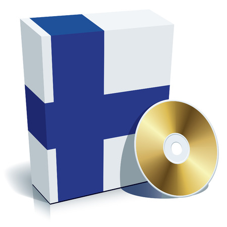 Finnish software box with national flag colors and CD. Vector