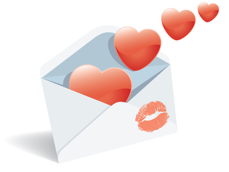 Love mail, envelope, hearts and lipstick print. Vector