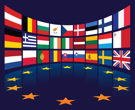 Collection of european union national flags of countries. Ilustração