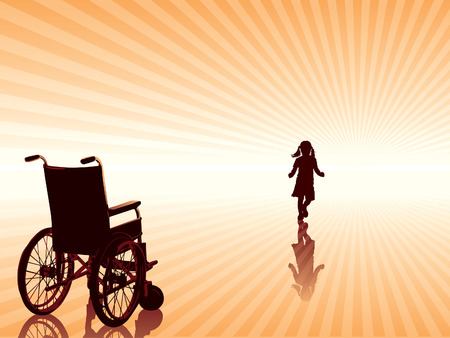 лучше: Recovery, empty wheelchair and child is going to the new better future.