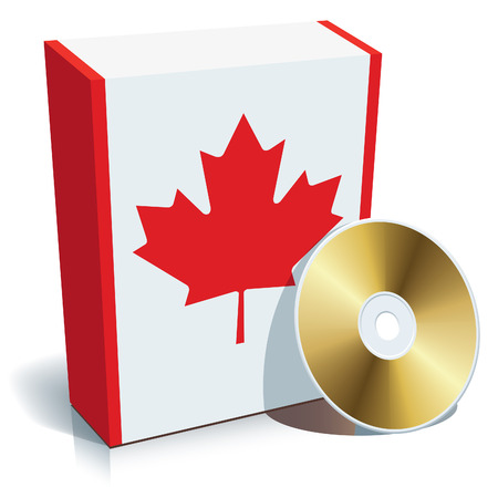 Canadian software box with national flag colors and CD. Vector