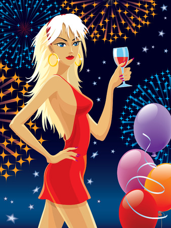 Blond hair girl in a red dress celebrating.