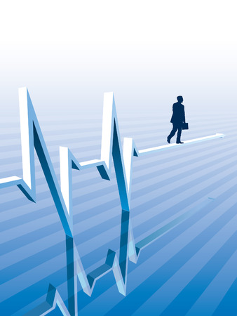 Businessman is walking on a graph, conceptual business illustration. Vector