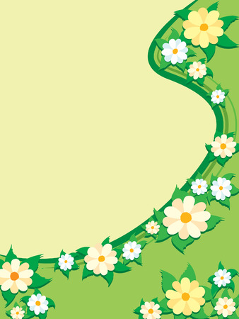 Flowers on a green background, spring illustration. Vector