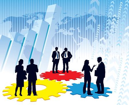 cogs: Uomini d'affari sono in piedi su un grande meccanismo, illustrazione concettuale imprese. La base � la mappa di Central Intelligence Agency Web site.