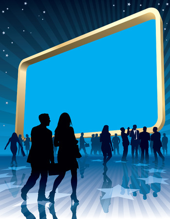 People and a large blank billboard, conceptual business illustration.
