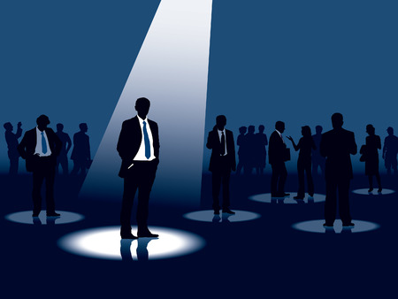 Group of people and one man selected, conceptual business illustration. Vector